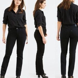 Levi's 505 Mid Rise Straight Leg Black Jeans